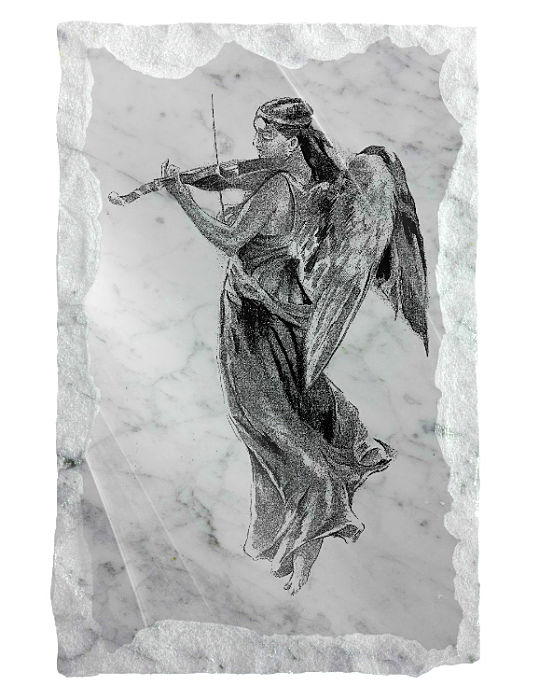 Image of an Angel playing a violin etched on a white marble background