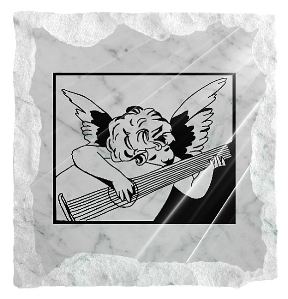 Image of an Angel playing guitar etched on a white marble background