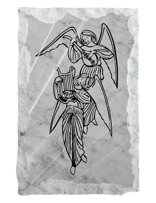 Image of Angels playing heavenly music etched on a white marble background