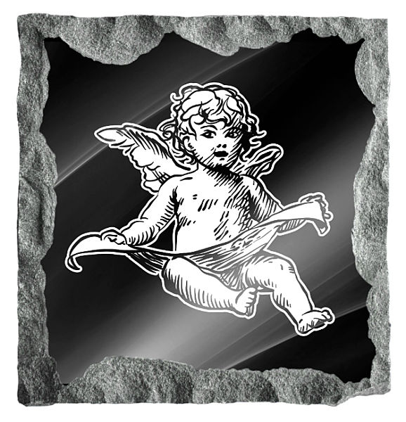 Image of an Angel with linen cloth etched on a black granite background