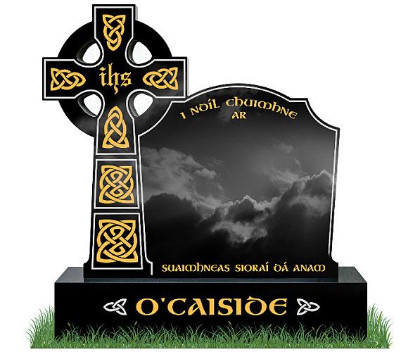 Celtic Top9 Headstone in Black Granite. All inscriptions in gold leaf with Celtic lacing engraved in gold leaf. Font: Gandalf Bold