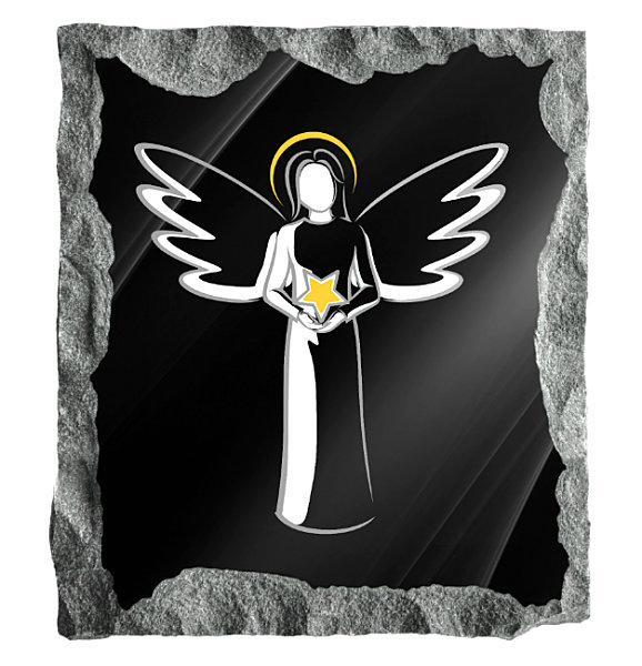 Contemporary image of an Angel holding a star etched on a black granite background
