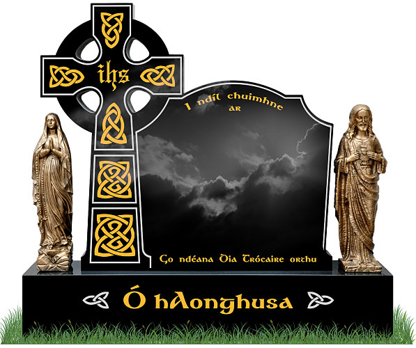 Celtic Top9 Headstone in Black Granite with bronze statues of Jesus and Our Lady on each side. Celtic lacing in gold leaf with silver trim. Two Celtic knots in silver on either side of surname on base. Font: Gandalf Bold.