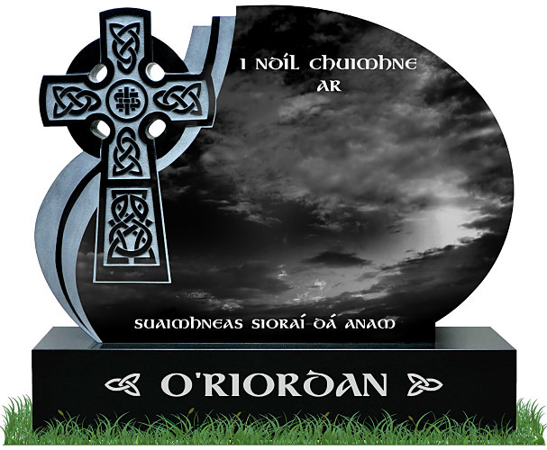 Celtic Wave Headstone in Black Granite. Celtic Lacing engraved in granite with a natural background. All inscriptions in silver. Font: Gandalf Bold.