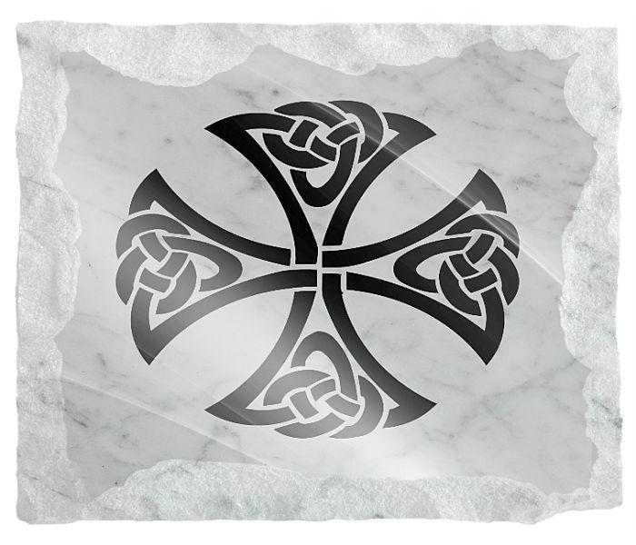 Celtic Irish Symbol etched on a white marble background