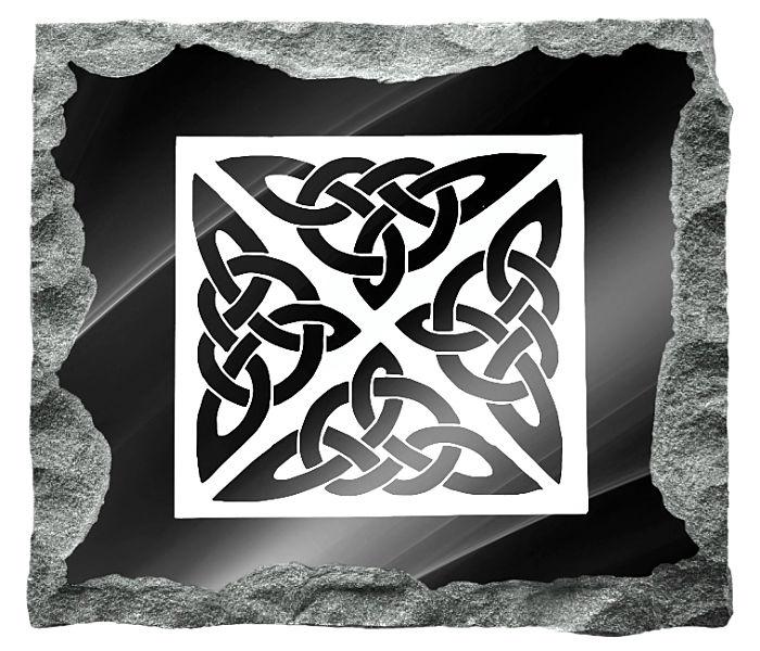Image of Celtic Knots etched on a black granite background