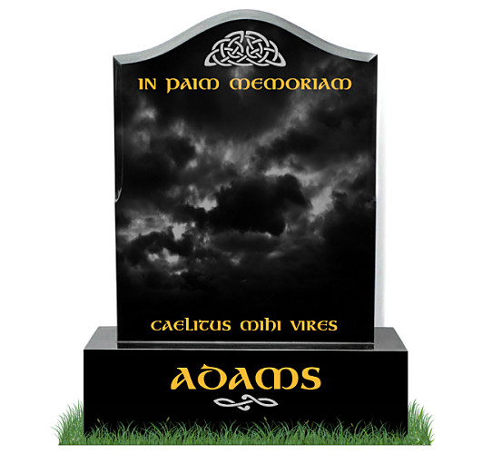 Three Inch Ogee Headstone in Black Granite. Celtic images engraved in silver. All inscriptions in gold leaf. Font: Gandalf Bold lettering