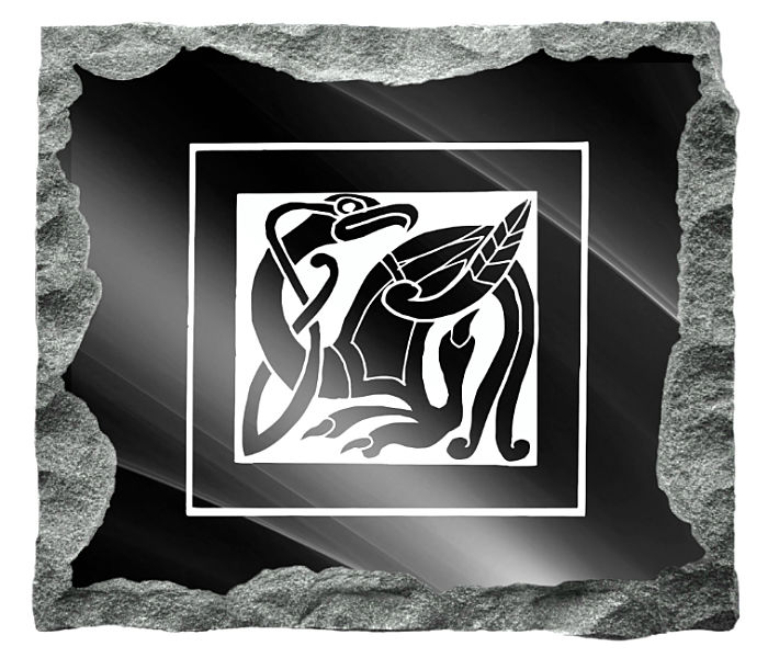 Celtic Memorial Image etched on a black granite background