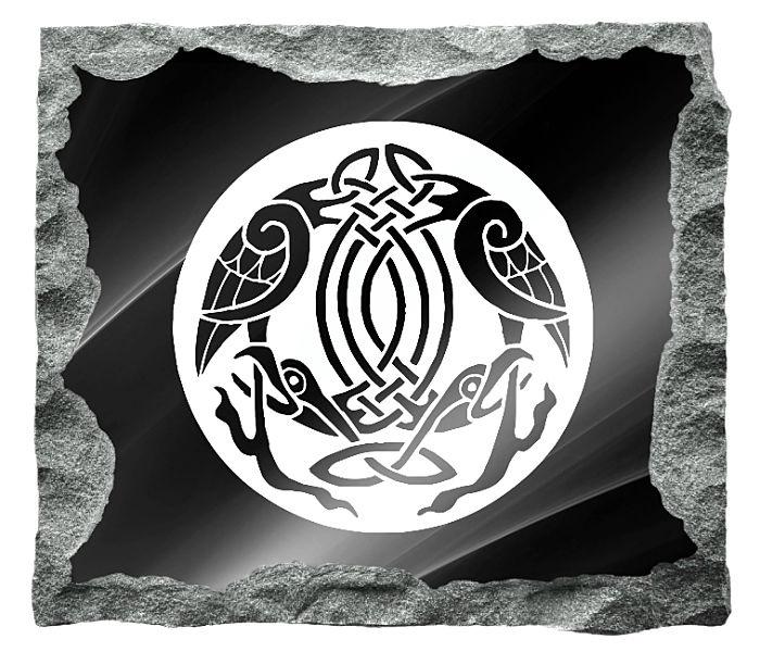 irish Celtic Headstone Image etched on a black granite background