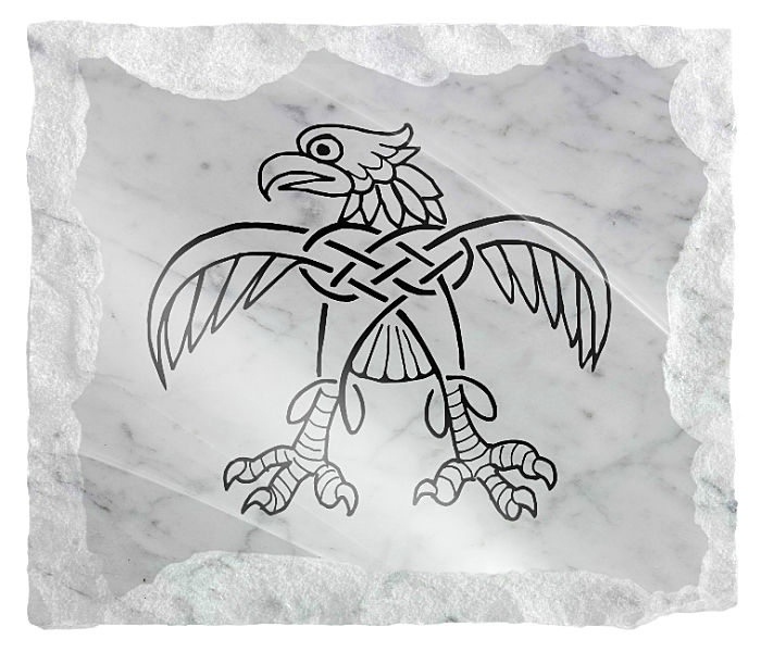 Celtic Bird gravestone image etched on a white marble background