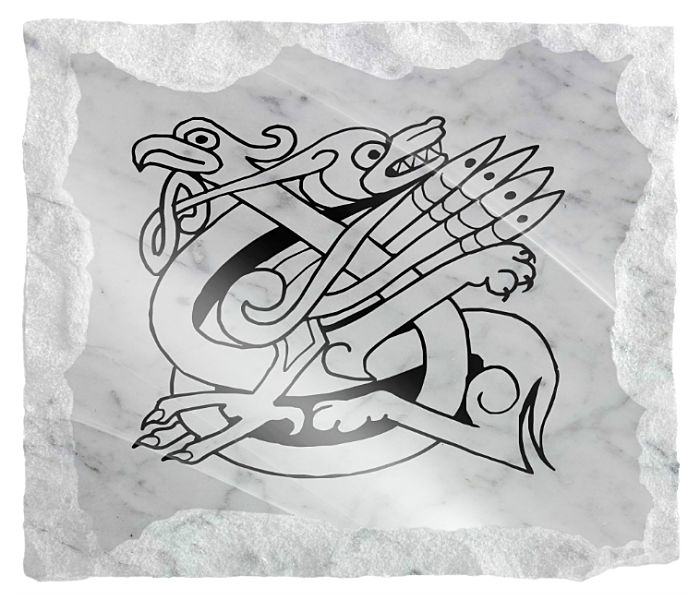 Celtic Memorial Image etched on a white marble background