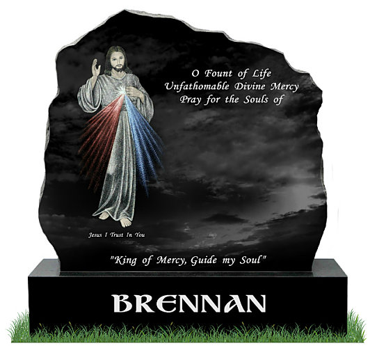 Divine Mercy Rustic Gravestone in Black Granite. The Sacred image of the Divine Mercy is etched in color. All Inscriptions engraved in silver. Fonts: Lucida Calligraphy and Gandalf Bold on the base.