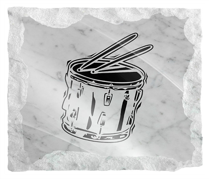 Image of Drums instrument etched on a white marble background