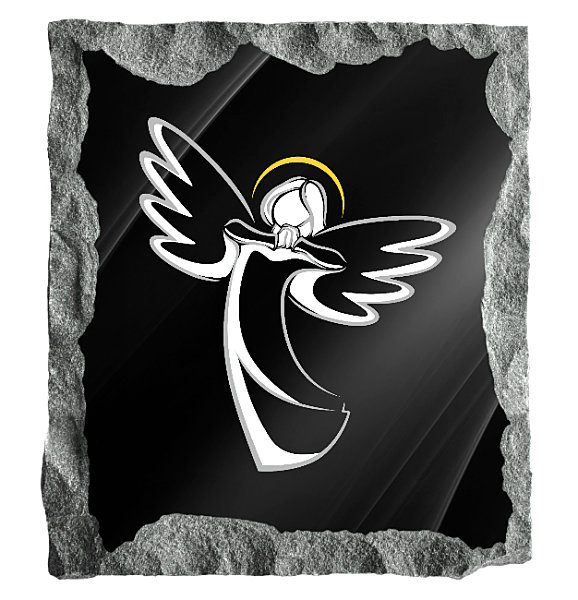 Contemporary image of a joyful Angel etched on a black granite background