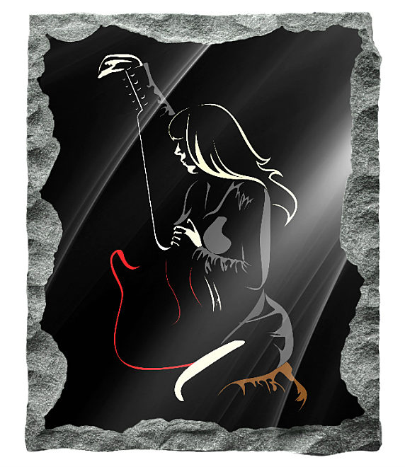Contemporary image of a girl guitarist etched in color on a black granite background
