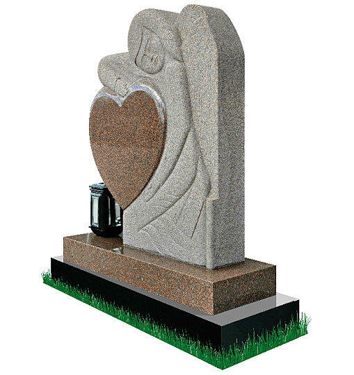 Gothic Angel Headstone in Multi-Color Granite (angle view). Memorial poem engraved on a polished heart. Gothic style angel with rustic finish rests on a polished base. Solar light is optional. Inscriptions engraved in silver. Font: Times Roman 76 lettering.