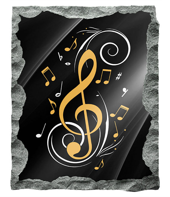 Abstract image of musical notes etched in silver and gold on a black granite background
