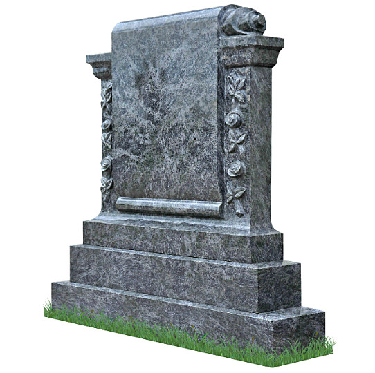 Carved Roses Scroll Monument (angle view) in Bahama Blue Granite. Headstone inscriptions engraved in silver. Font: Ennis Celtic lettering.