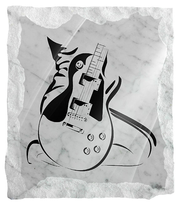 Guitar Memorial etched on a white marble background