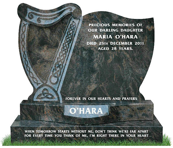 Irish Harp Headstone in Aurora Granite. Exclusively designed by Treanor Stone-Tec. This headstone incorporates a harp with Celtic lacing and a curved sunken base for a surname. Inscriptions engraved in silver. Font: Mason Block 51 lettering.