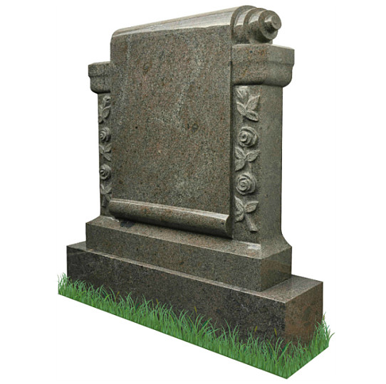 Carved Roses Scroll Monument (angle view) in Paradiso Granite. Headstone inscriptions engraved in silver. Font: Standard Mason Block lettering.