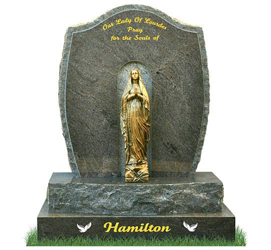 Rustic Grotto Headstone in Paradiso Granite. Bronze statue of Our Lady of Lourdes rests in the center of the grotto. Inscriptions engraved in gold leaf. Font: Tartine Script lettering.