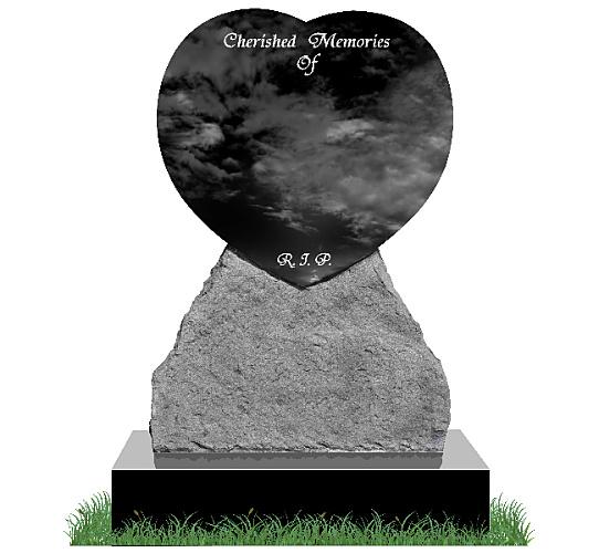 Rustic Heart Headstone in Black Granite. All inscriptions engraved in silver. Font: Tiranti Solid lettering.