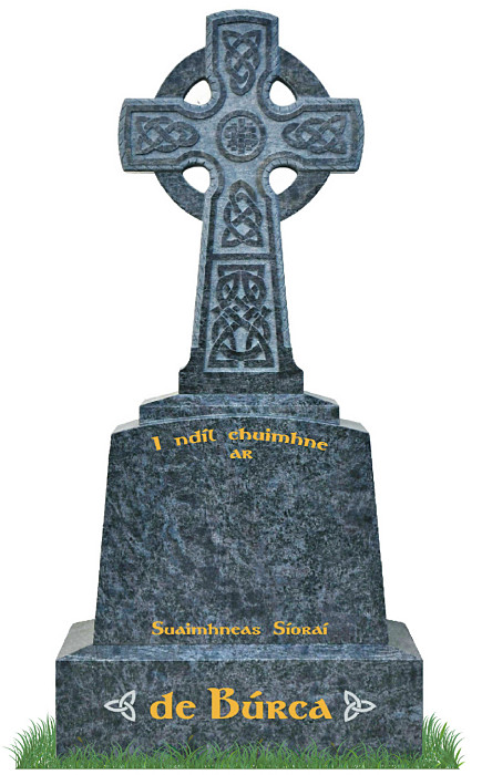 Irish Celtic Cross no1 in Bahama Blue Granite. Celtic Lacing engraved into cross with IHS in center. Inscriptions in gold leaf with two Celtic knots in silver on each side of surname on base. Font: Gandalf Bold