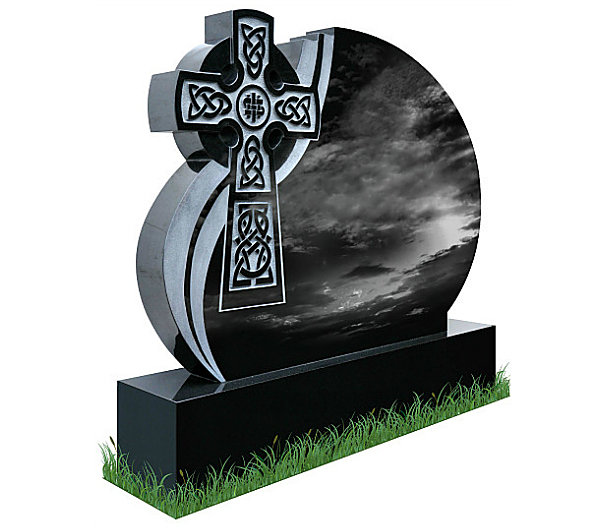 Celtic Wave Headstone in Black Granite (angle view). Celtic Lacing engraved in granite with a natural background. All inscriptions in silver. Font: Gandalf Bold.