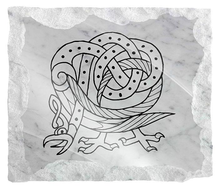 Mythology creature etched on a white marble background