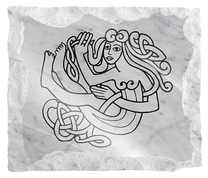 Celtic Image of a Woman etched on a white marble background