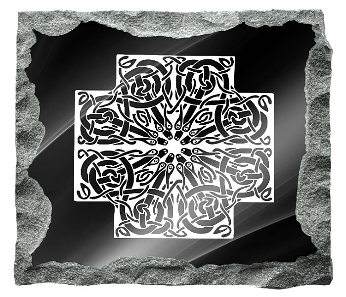 Irish Celtic Art Tombstone Image etched on a black granite background