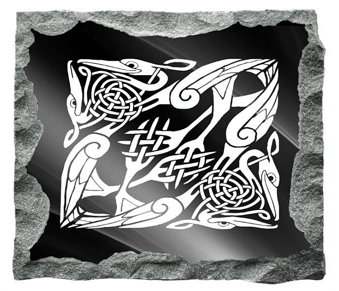 Celtic Mythology Images etched on a black granite background