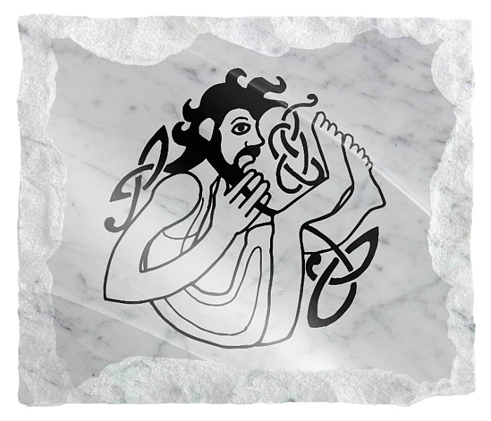 Celtic Image of a man etched on a white marble background