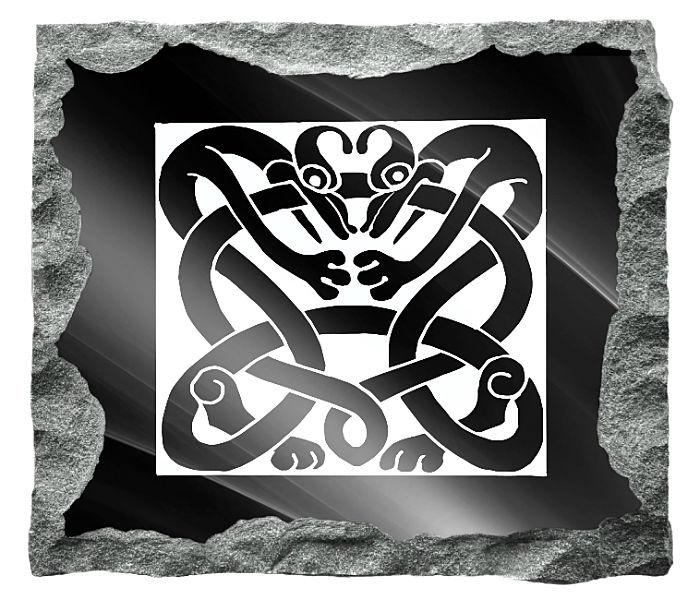 Irish Celtic Art Headstone Image etched on a black granite background