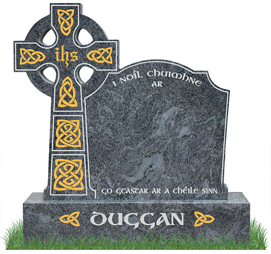 Celtic Top9 Headstone in Bahama Blue Granite. All inscriptions in silver with Celtic lacing engraved in gold leaf. Font: Gandalf Bold