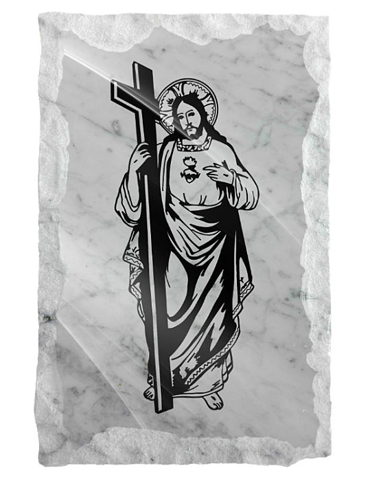 Image Jesus with His Cross on a white marble background