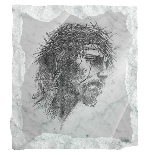 Image of Jesus with a crown of thorns etched on a white marble background