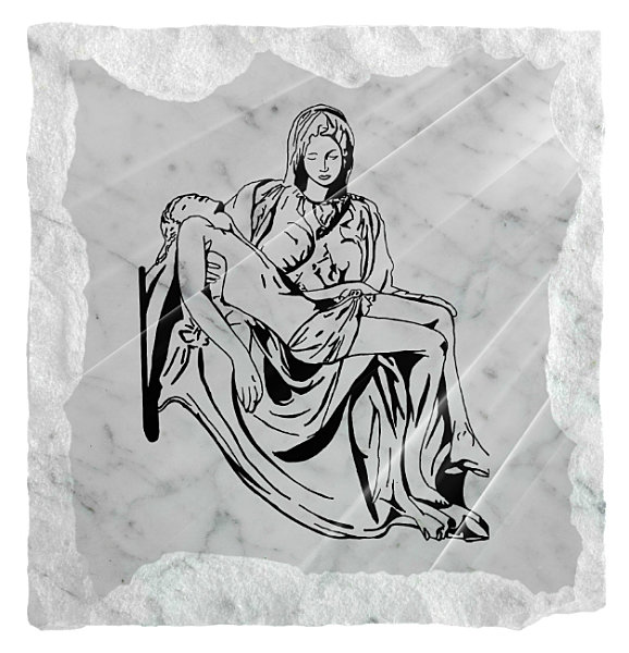Image of Michael Angelo's Pieta etched on a white marble background