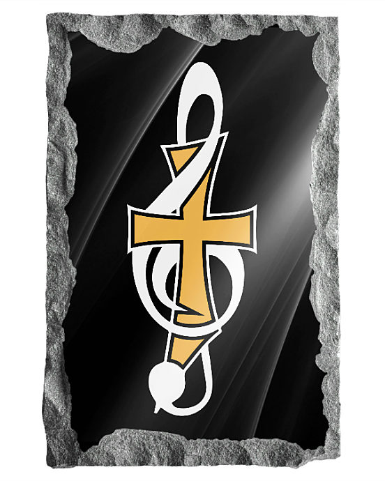 Music Note with Cross etched in silver and Gold on a black granite background