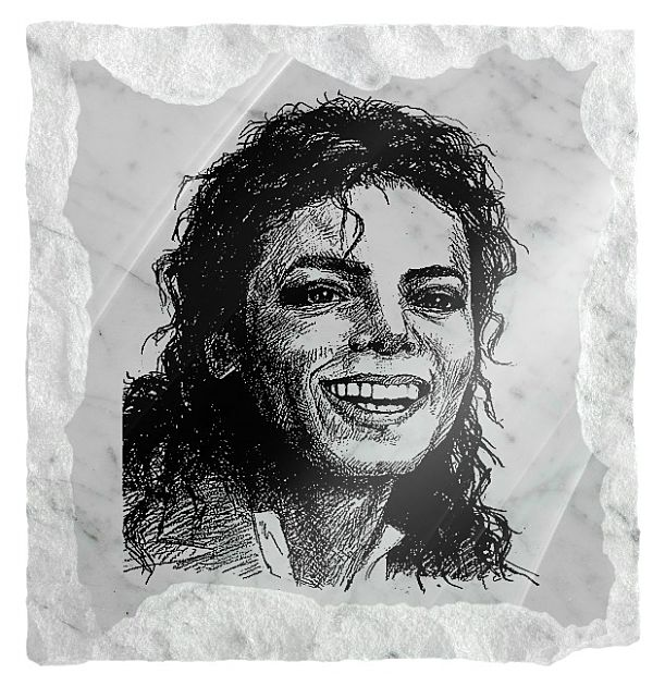 Michael Jackson memorial image etched on a white marble background