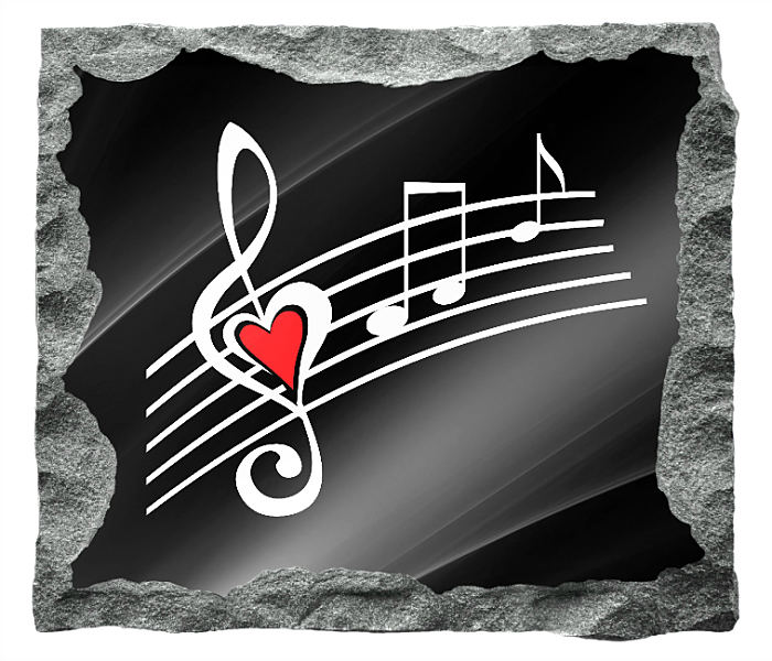 Image of Musical Notes etched in silver and red on a black granite backgrund