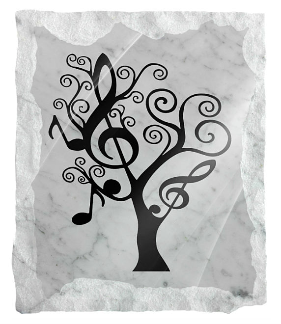 Image of a Musical Tree etched on white marble background