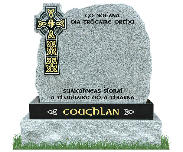 Rustic Celtic Cross Gravestone in Grey Granite with Black Granite Celtic Cross and matching Black Granite sub-base. Main inscriptions in matte black and surname in gold leaf with silver Celtic knots on each side. Font: Gandalf Bold.