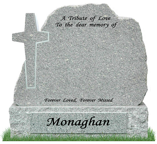 Rustic Cross Gravestone in Grey Granite. Inscriptions engraved in matte black. Surname engraved on raised section on base. Font: Lucida Calligraphy.