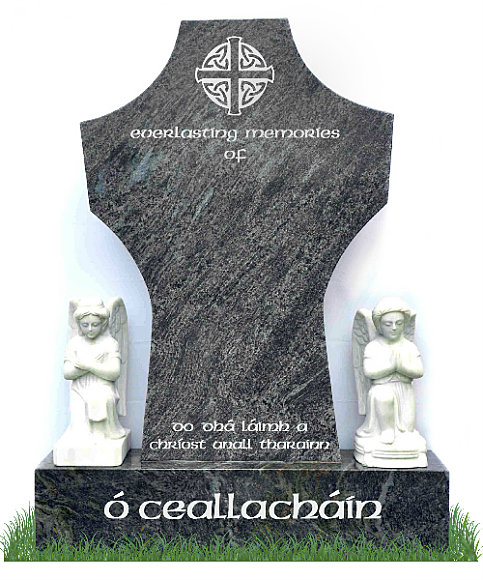 High Cross Headstone in Bahama Blue Granite with Celtic Design and inscriptions in silver. Two solid marble angel statues rest on either side of the headstone. Font: standard Celtic Lettering