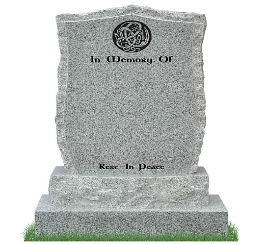 Curved Apex Headstone with curved sub-base in Grey Granite. Celtic Design and inscriptions engraved in matte black. Font: Gandalf Bold lettering