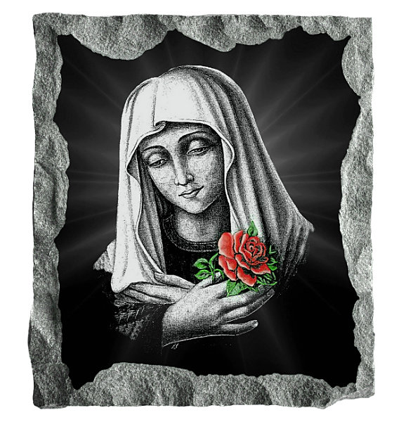 Image of the Rosa Mystica etched with a colored rose on black granite.