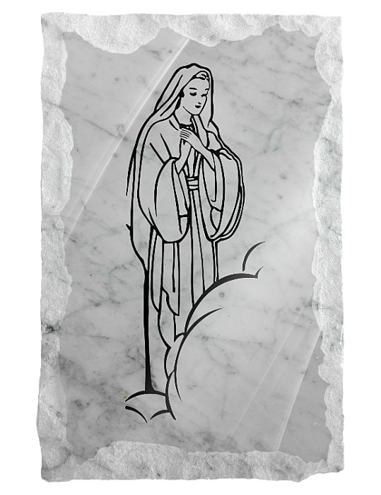 Image of Our Lady in Clouds etched on a white marble background