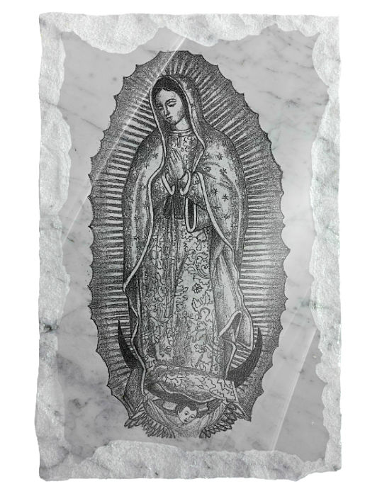 Image of Our Lady of Guadolupe etched on a white marble background